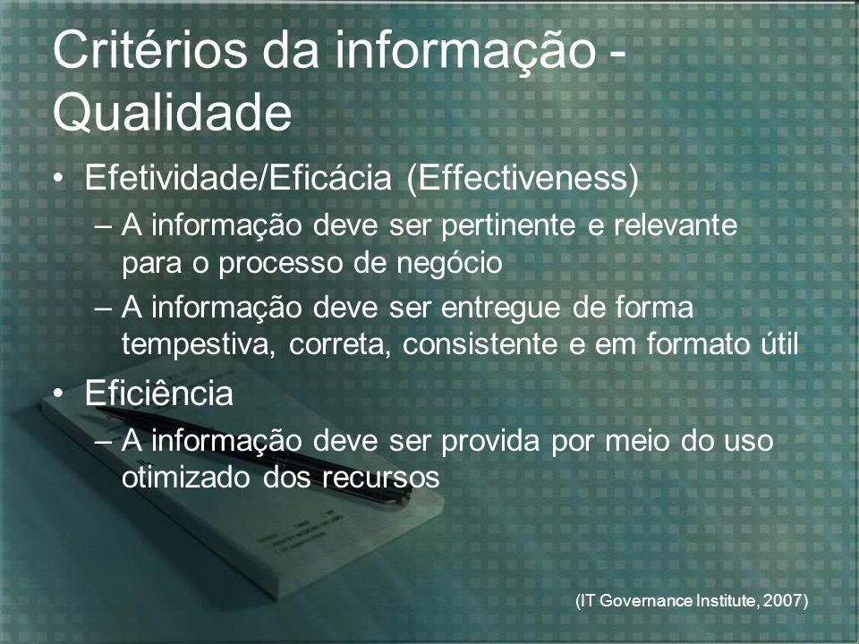 Critérios da informação - Qualidade