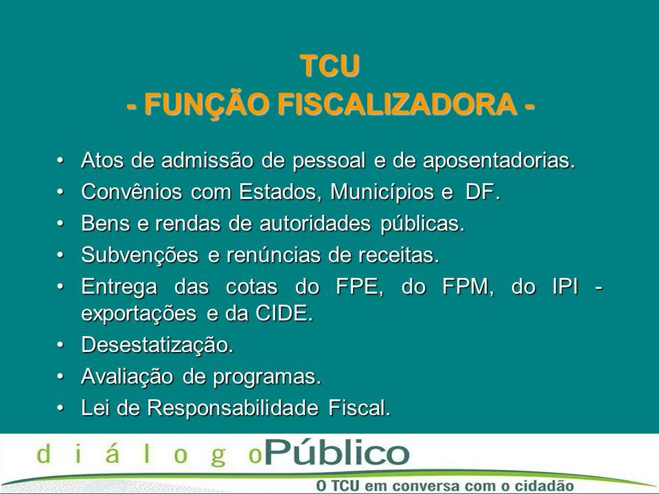 TCU - FUNÇÃO FISCALIZADORA -