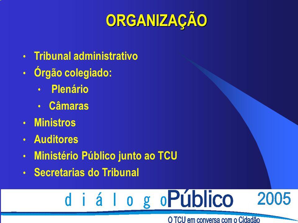 ORGANIZAÇÃO Tribunal administrativo Órgão colegiado: Plenário Câmaras