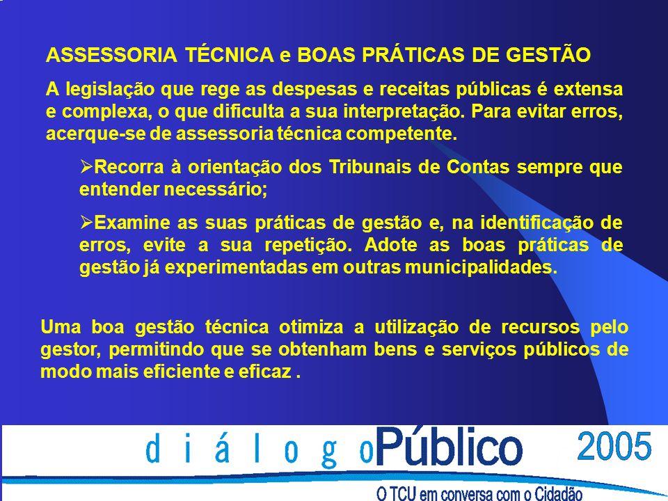 ASSESSORIA TÉCNICA e BOAS PRÁTICAS DE GESTÃO
