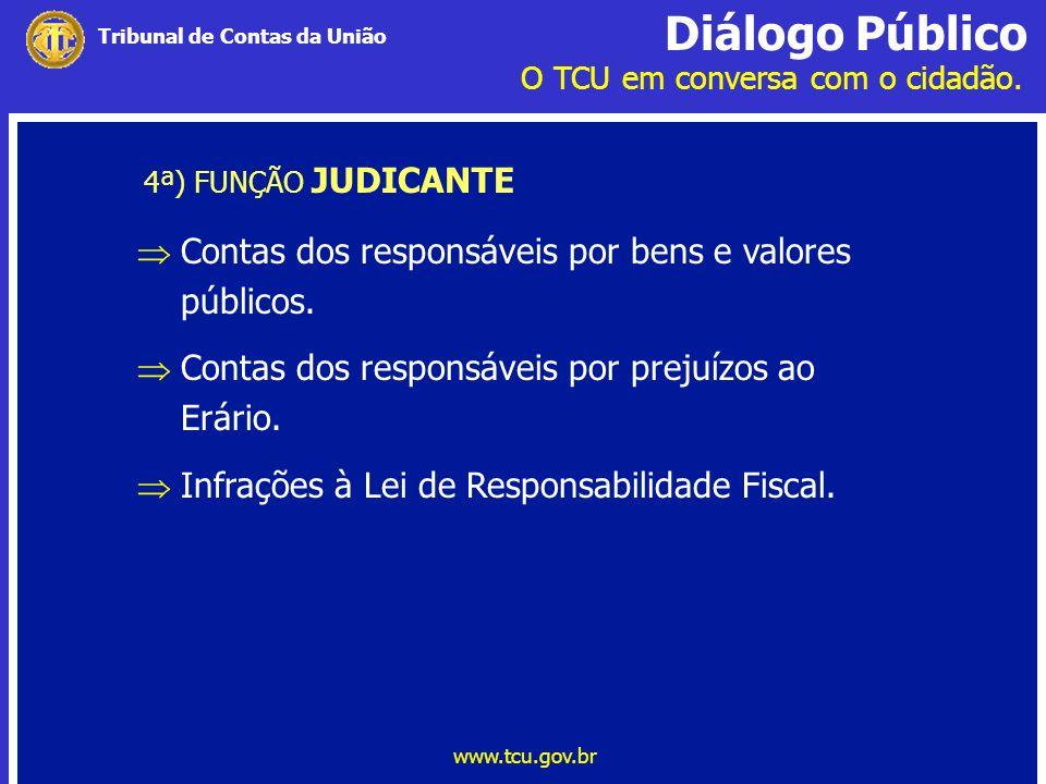 Contas dos responsáveis por bens e valores públicos.