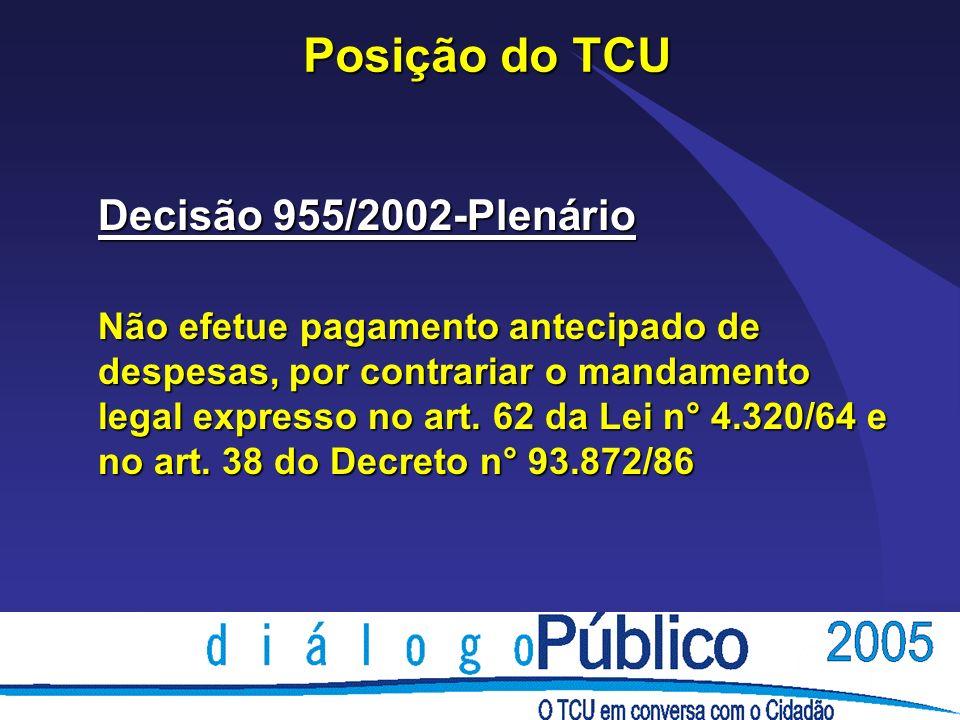Posição do TCU Decisão 955/2002-Plenário