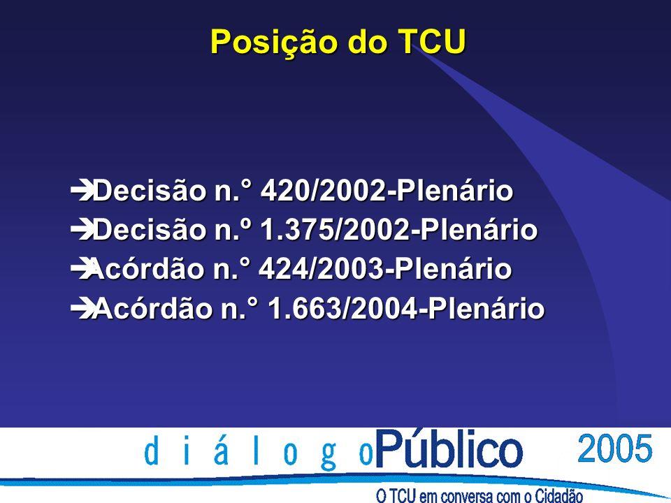 Posição do TCU Decisão n.° 420/2002-Plenário