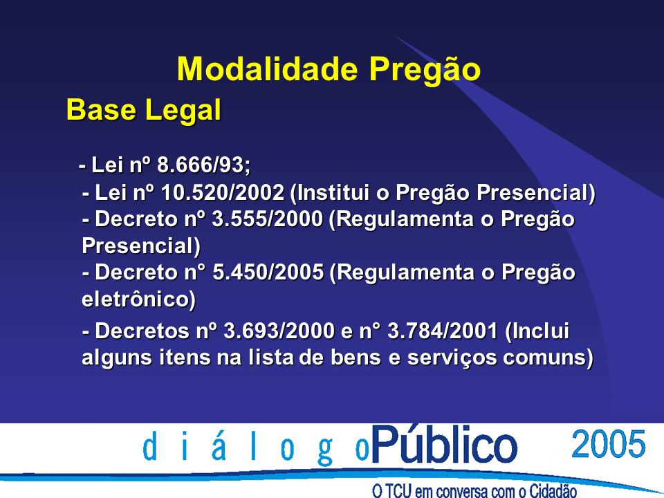 Modalidade Pregão Base Legal