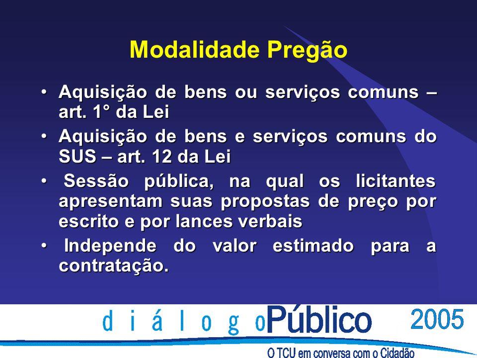 Modalidade PregãoAquisição de bens ou serviços comuns – art. 1° da Lei. Aquisição de bens e serviços comuns do SUS – art. 12 da Lei.