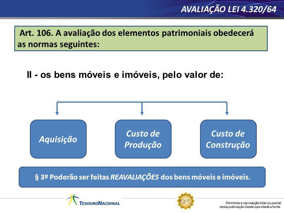 § 3º Poderão ser feitas REAVALIAÇÕES dos bens móveis e imóveis.