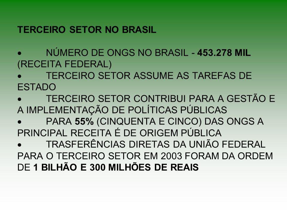 TERCEIRO SETOR NO BRASIL ·. NÚMERO DE ONGS NO BRASIL - 453