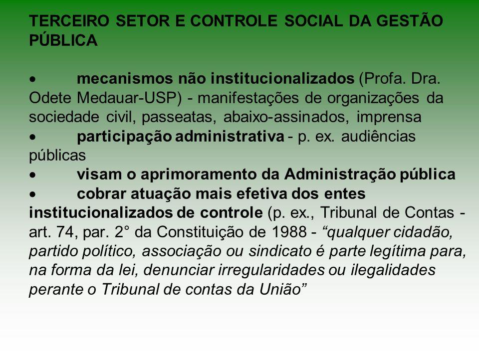 TERCEIRO SETOR E CONTROLE SOCIAL DA GESTÃO PÚBLICA ·
