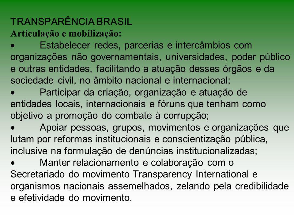 TRANSPARÊNCIA BRASIL Articulação e mobilização: ·