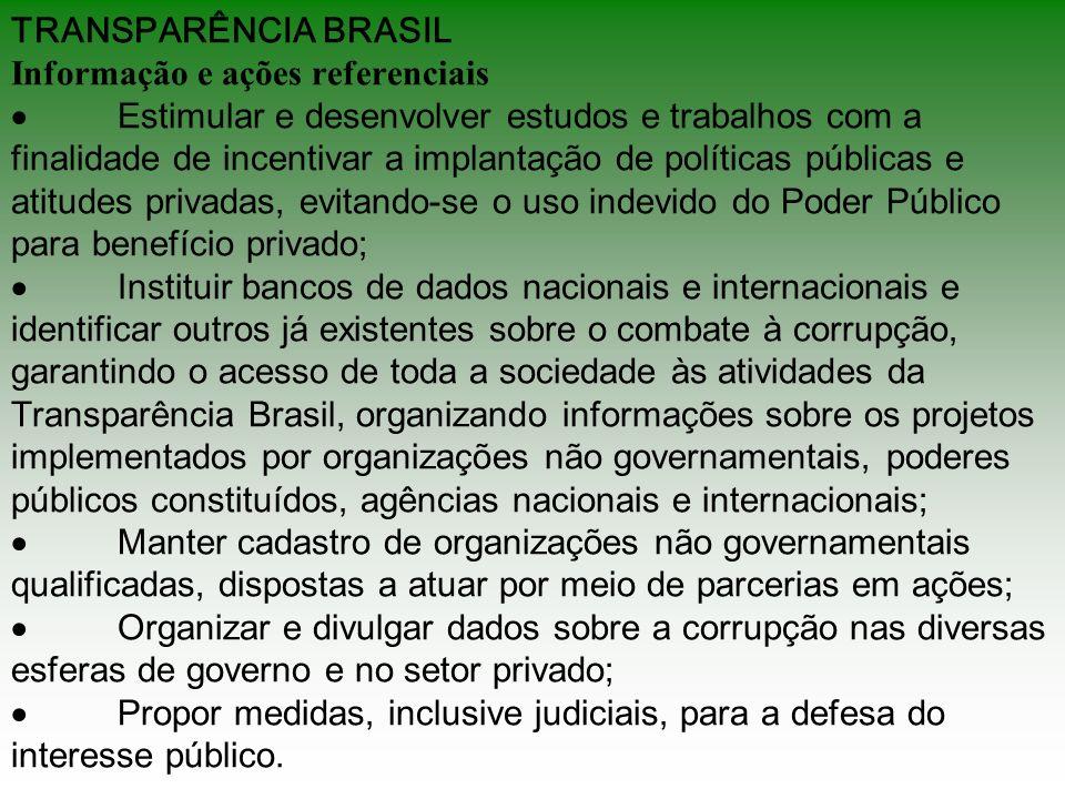 TRANSPARÊNCIA BRASIL Informação e ações referenciais ·