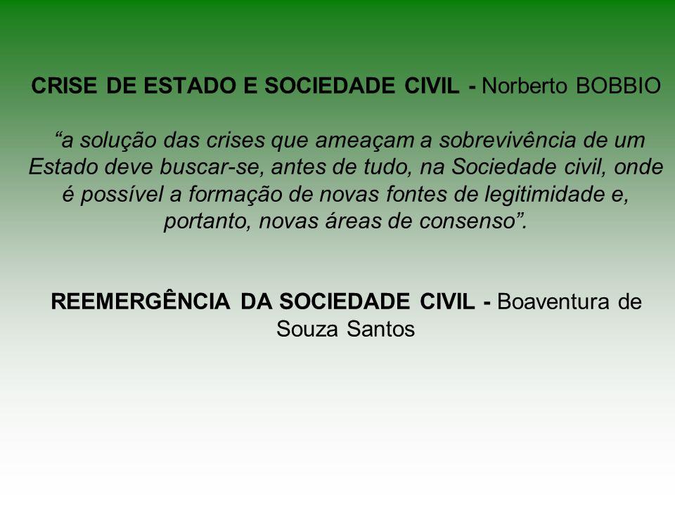 CRISE DE ESTADO E SOCIEDADE CIVIL - Norberto BOBBIO a solução das crises que ameaçam a sobrevivência de um Estado deve buscar-se, antes de tudo, na Sociedade civil, onde é possível a formação de novas fontes de legitimidade e, portanto, novas áreas de consenso .