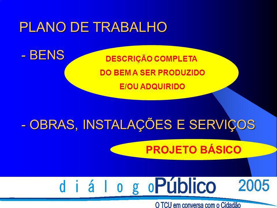 PLANO DE TRABALHO - BENS - OBRAS, INSTALAÇÕES E SERVIÇOS
