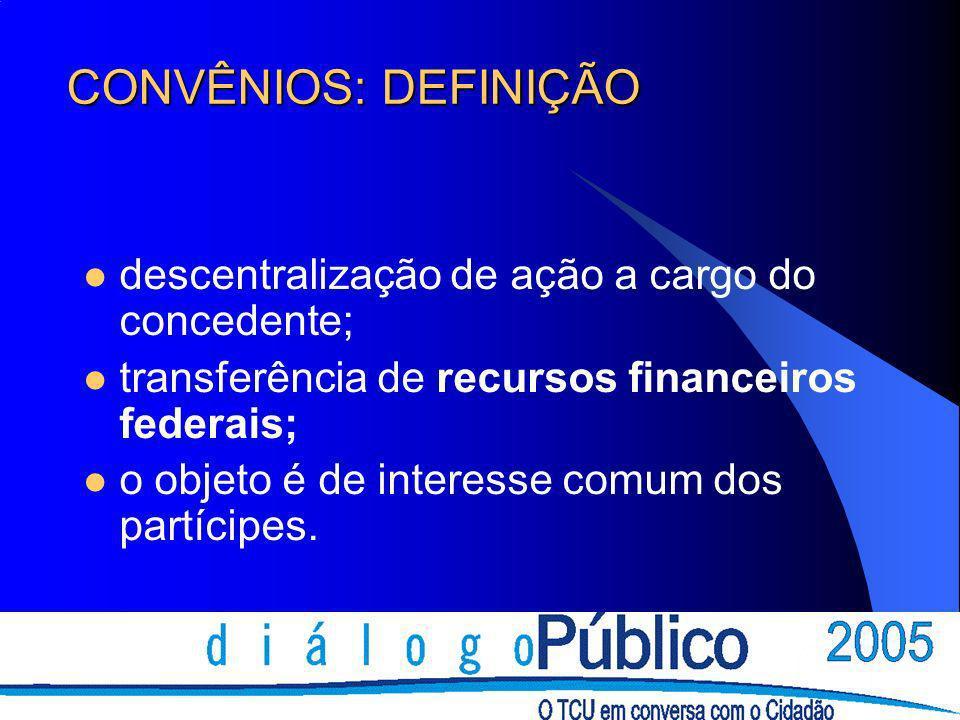 CONVÊNIOS: DEFINIÇÃO descentralização de ação a cargo do concedente;