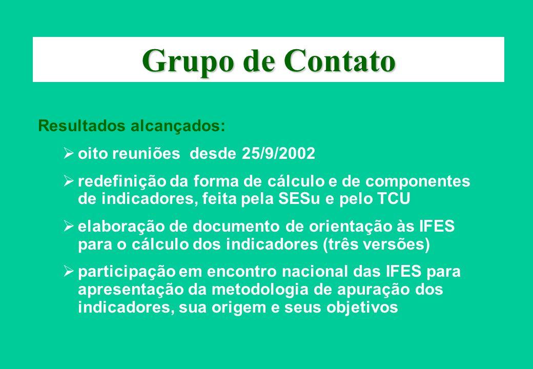 Grupo de Contato Resultados alcançados: oito reuniões desde 25/9/2002