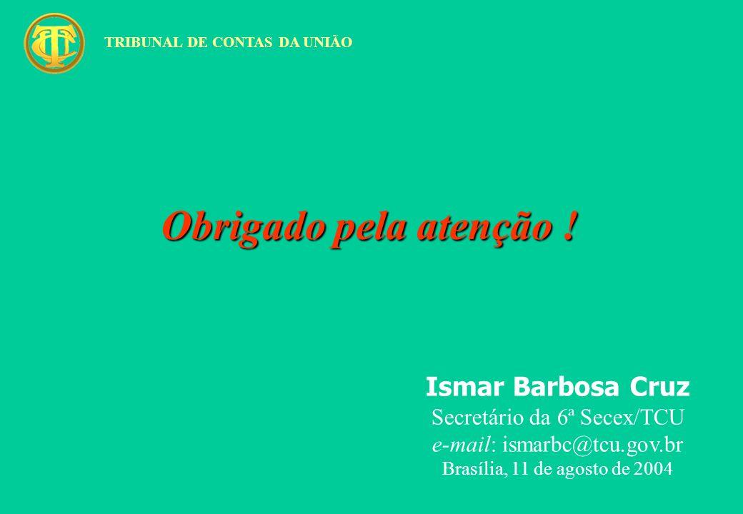Obrigado pela atenção ! Ismar Barbosa Cruz Secretário da 6ª Secex/TCU