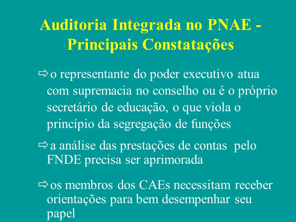 Auditoria Integrada no PNAE - Principais Constatações