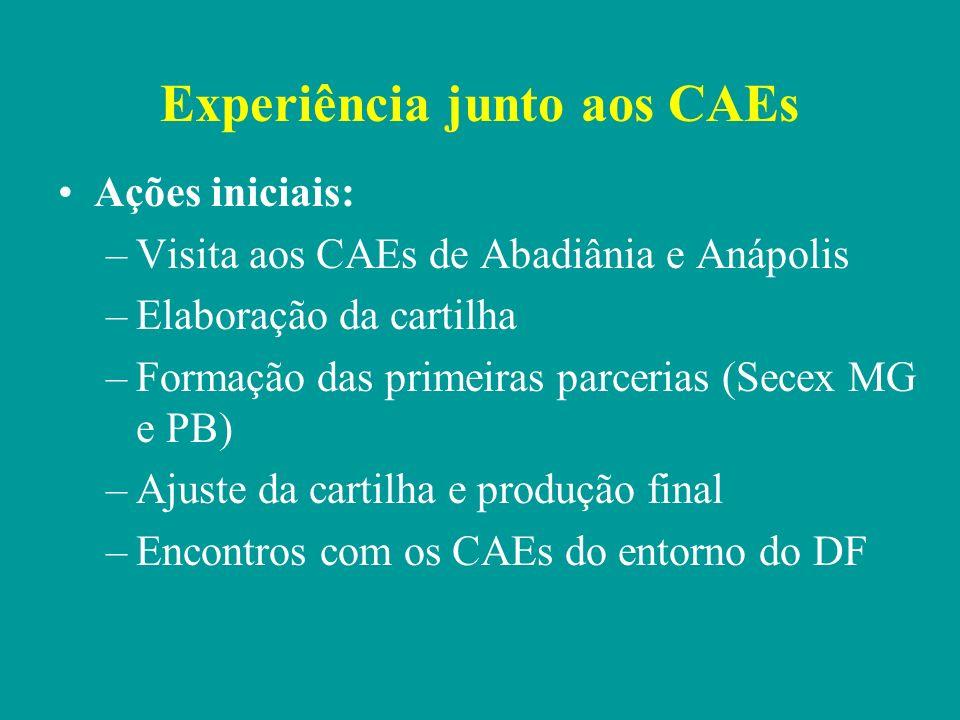 Experiência junto aos CAEs