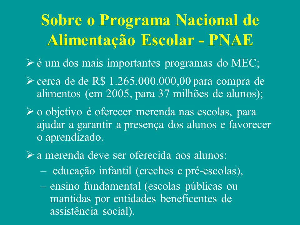 Sobre o Programa Nacional de Alimentação Escolar - PNAE