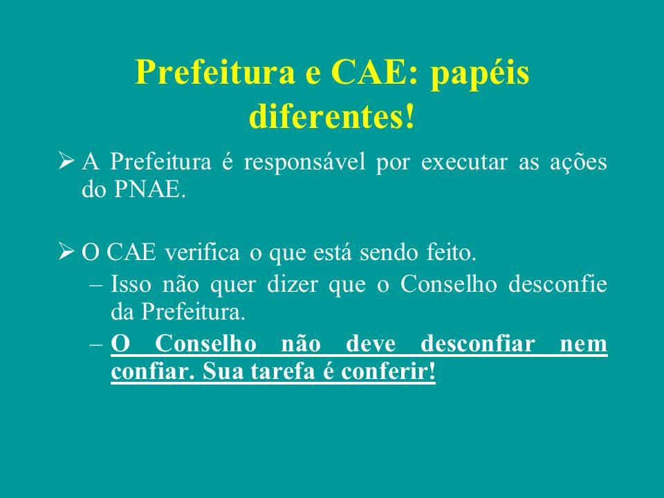 Prefeitura e CAE: papéis diferentes!