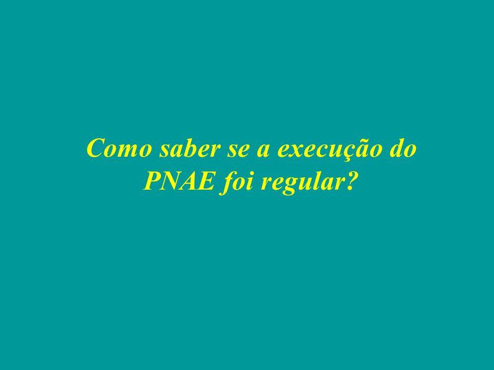 Como saber se a execução do PNAE foi regular