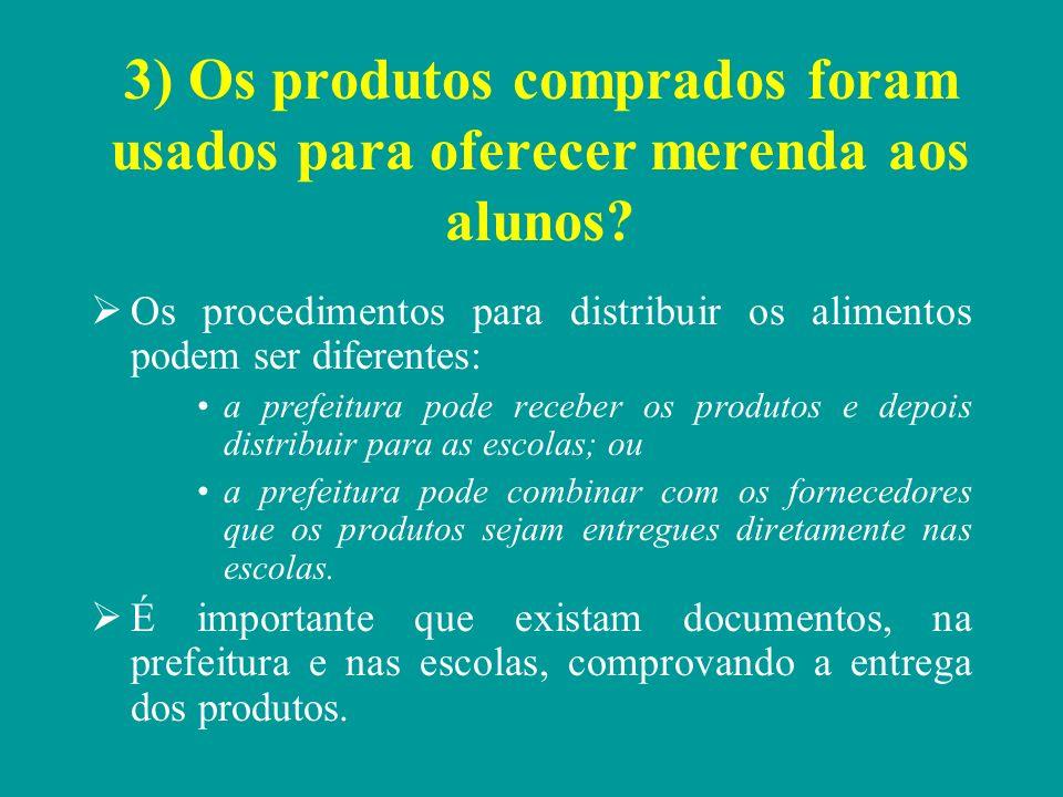 3) Os produtos comprados foram usados para oferecer merenda aos alunos