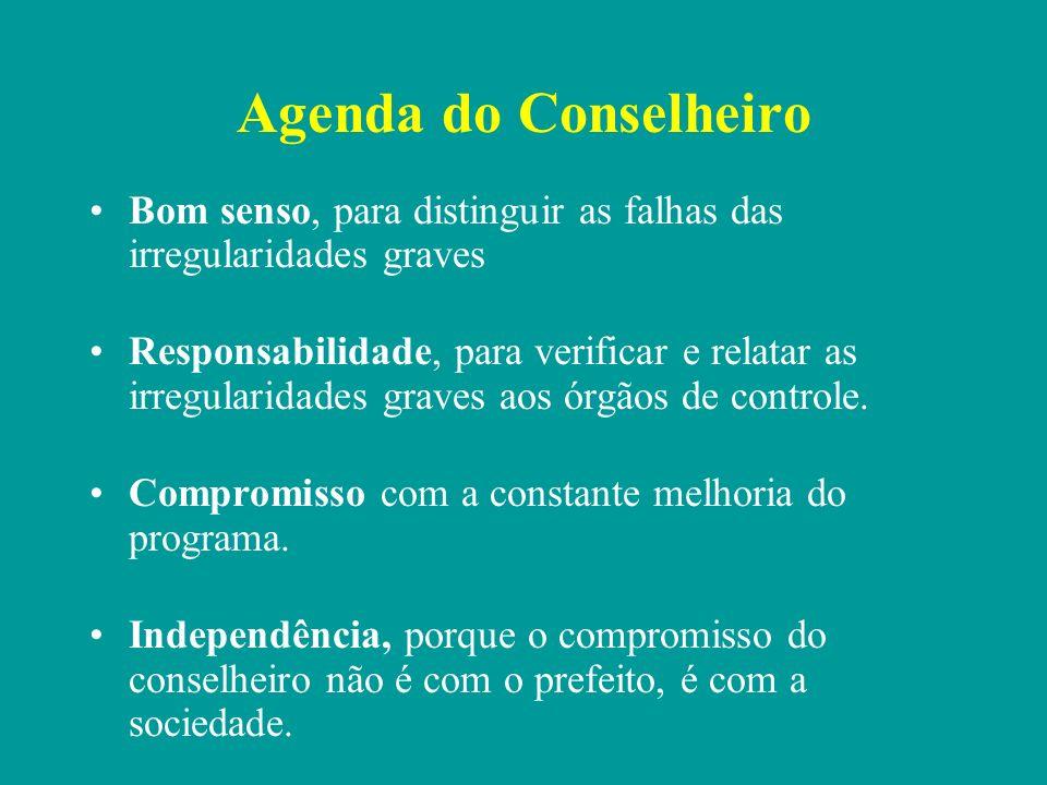 Agenda do Conselheiro Bom senso, para distinguir as falhas das irregularidades graves.
