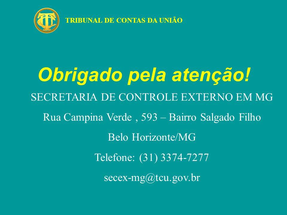 Obrigado pela atenção! SECRETARIA DE CONTROLE EXTERNO EM MG