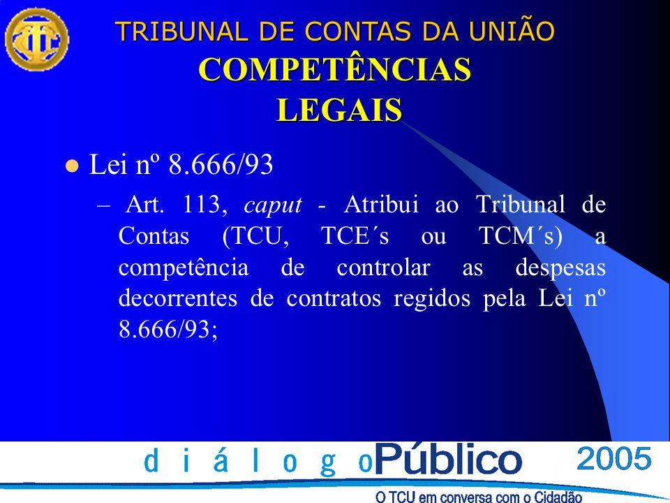 COMPETÊNCIAS LEGAIS Lei nº 8.666/93