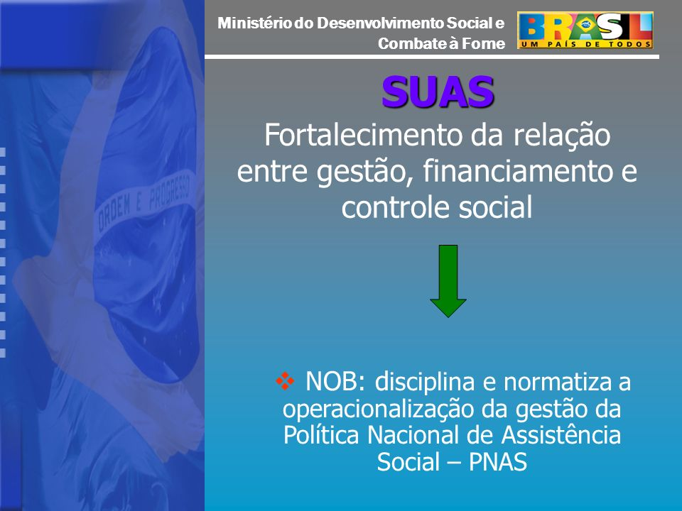 SUAS Fortalecimento da relação entre gestão, financiamento e controle social.