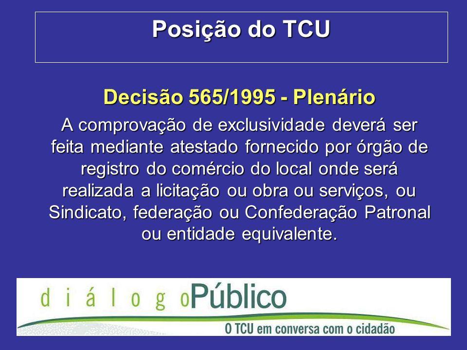 Posição do TCU Decisão 565/1995 - Plenário