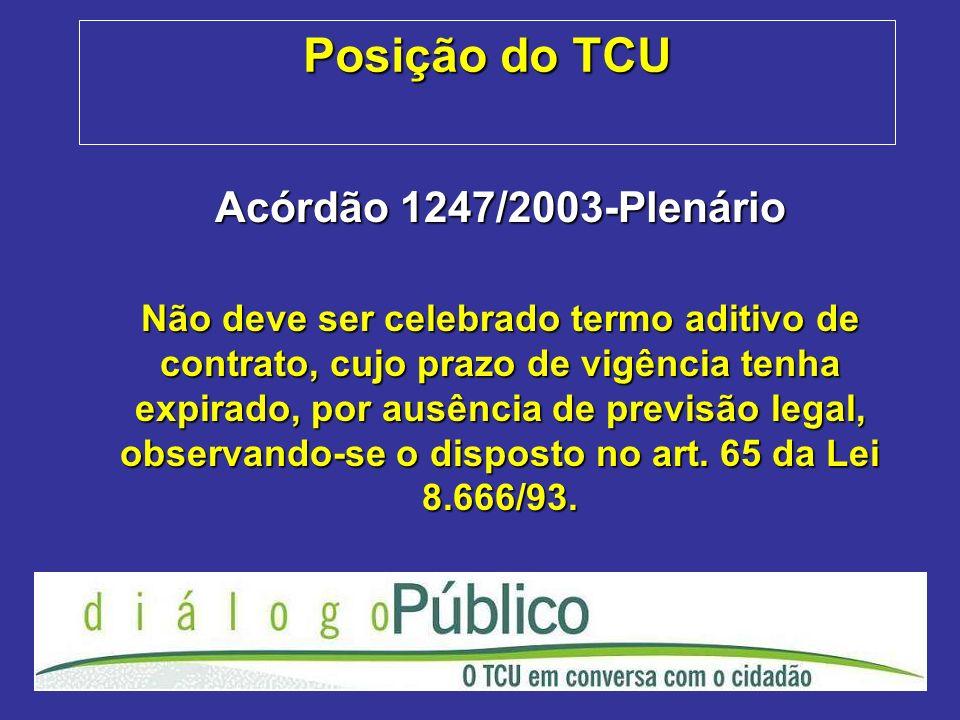 Posição do TCU Acórdão 1247/2003-Plenário