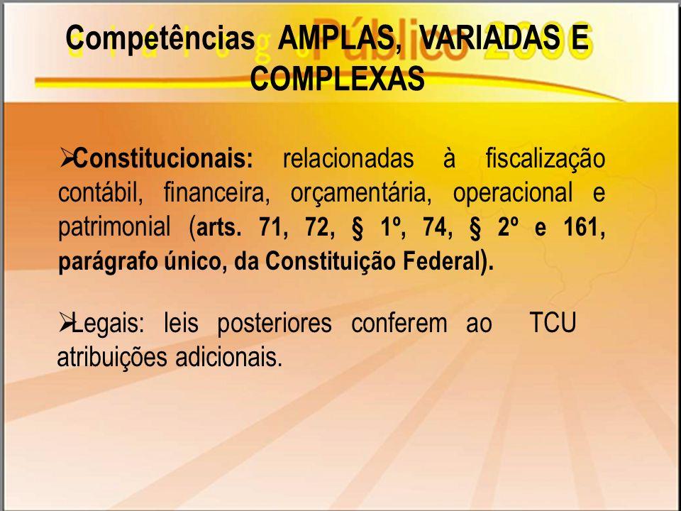 Competências AMPLAS, VARIADAS E COMPLEXAS