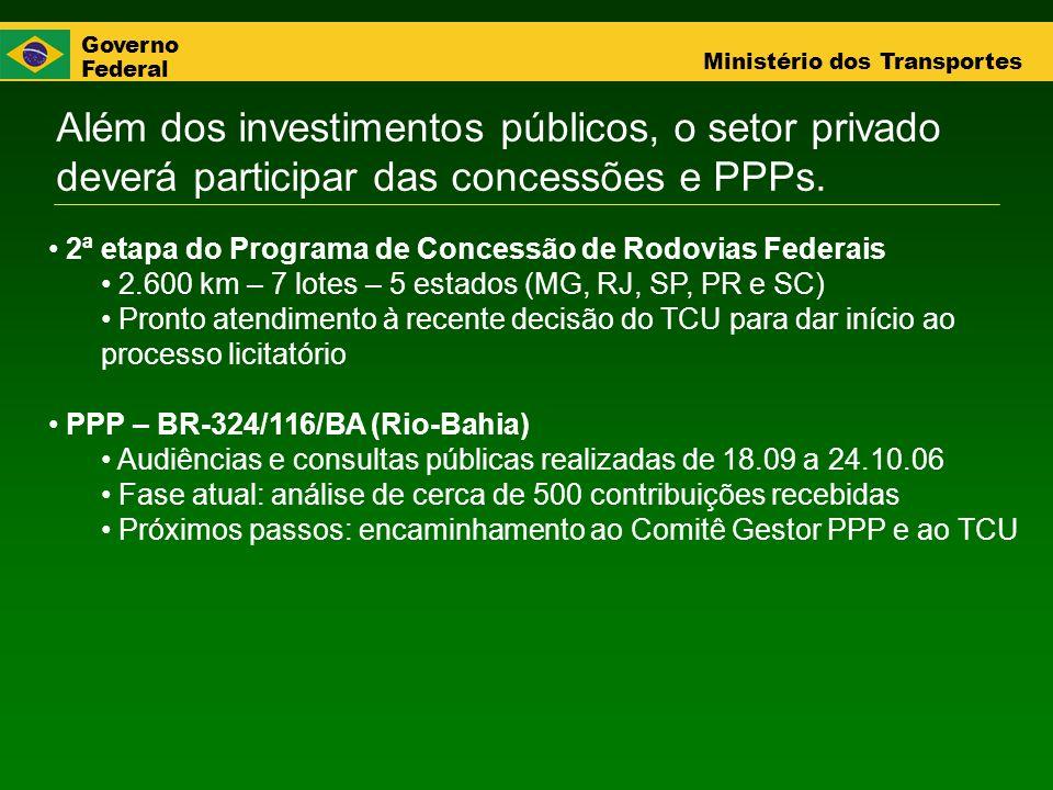 Além dos investimentos públicos, o setor privado deverá participar das concessões e PPPs.