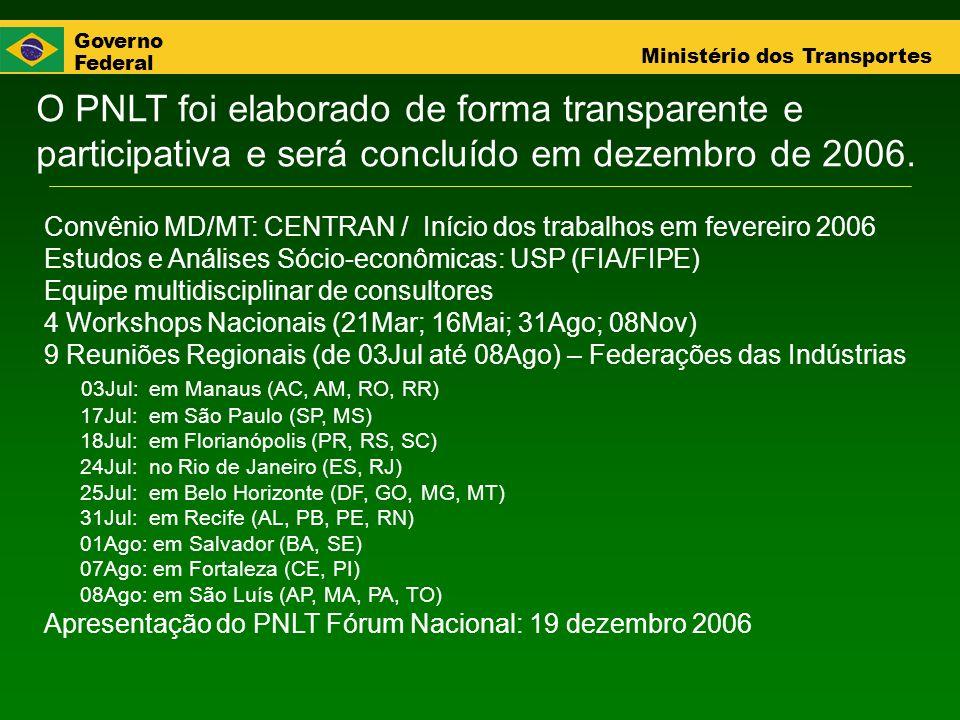 O PNLT foi elaborado de forma transparente e participativa e será concluído em dezembro de 2006.