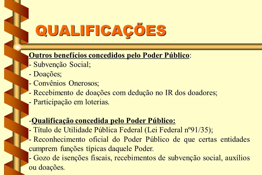 QUALIFICAÇÕES Outros benefícios concedidos pelo Poder Público: