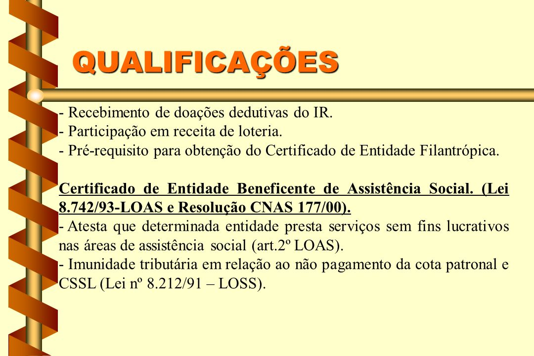 QUALIFICAÇÕES - Recebimento de doações dedutivas do IR.