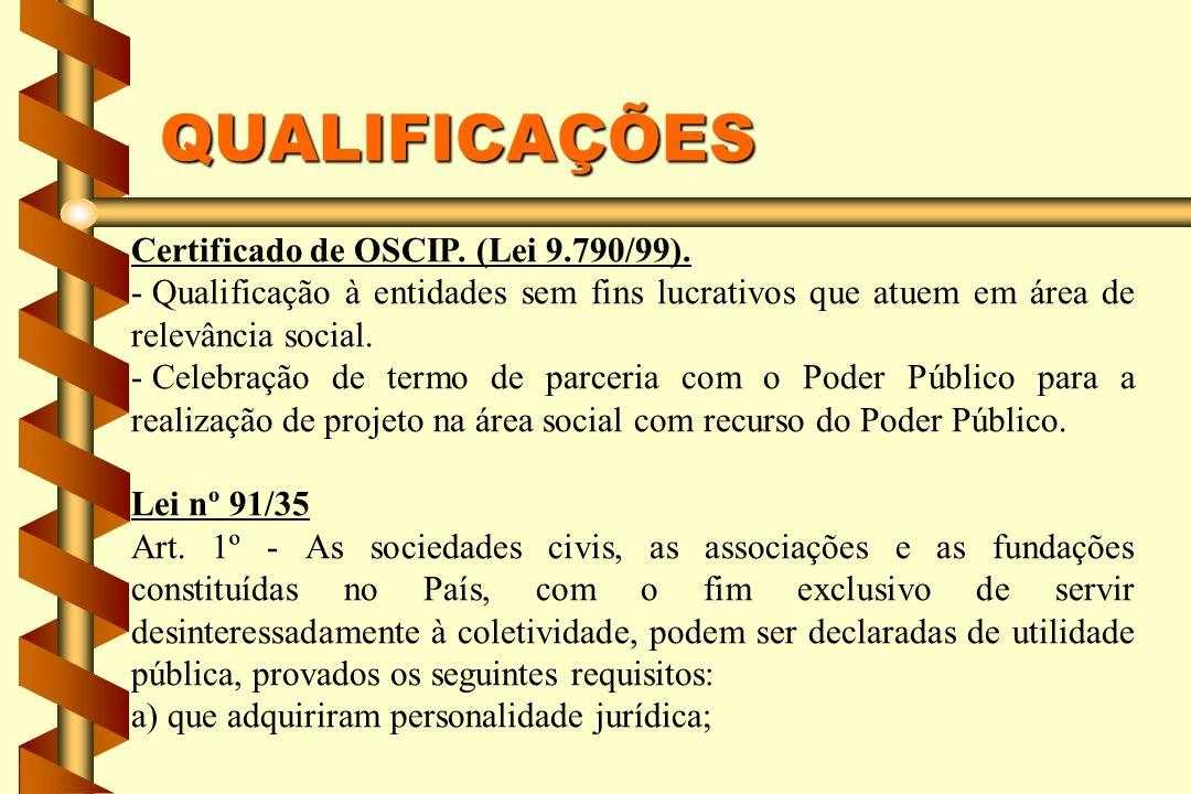 QUALIFICAÇÕES Certificado de OSCIP. (Lei 9.790/99).