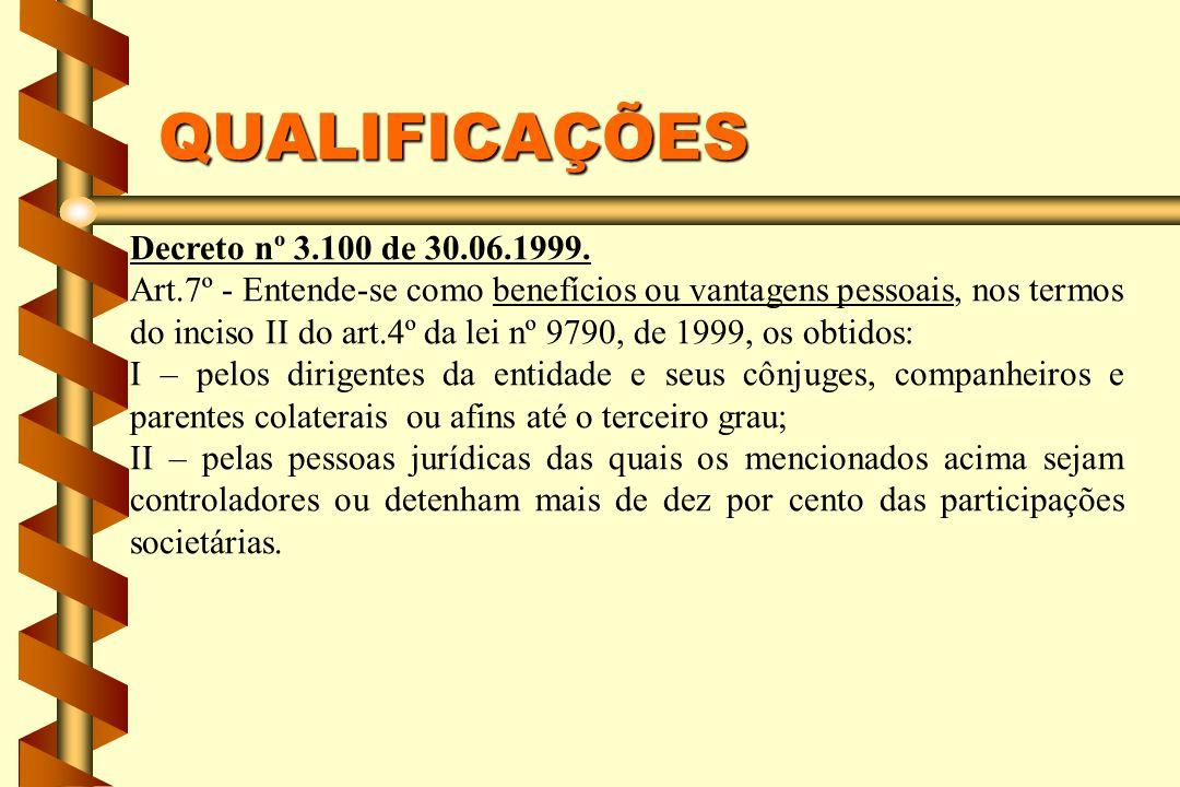 QUALIFICAÇÕES Decreto nº 3.100 de 30.06.1999.