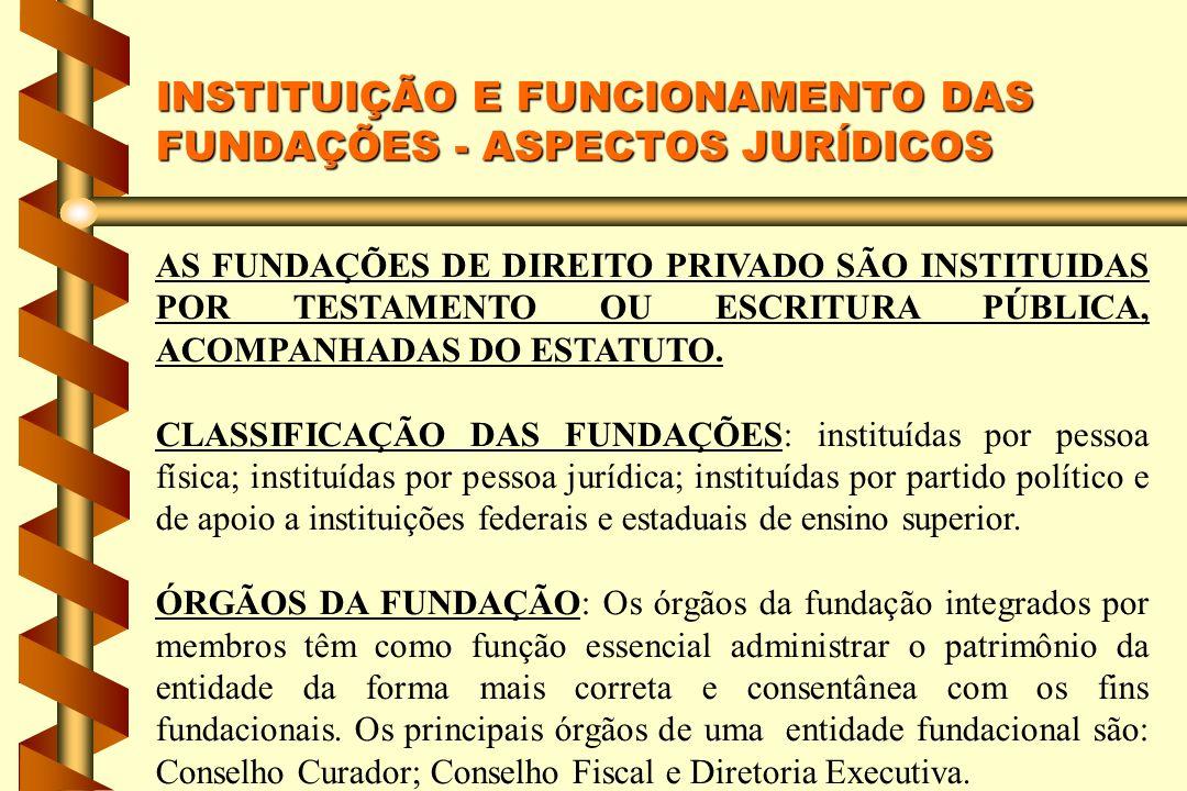 INSTITUIÇÃO E FUNCIONAMENTO DAS FUNDAÇÕES - ASPECTOS JURÍDICOS