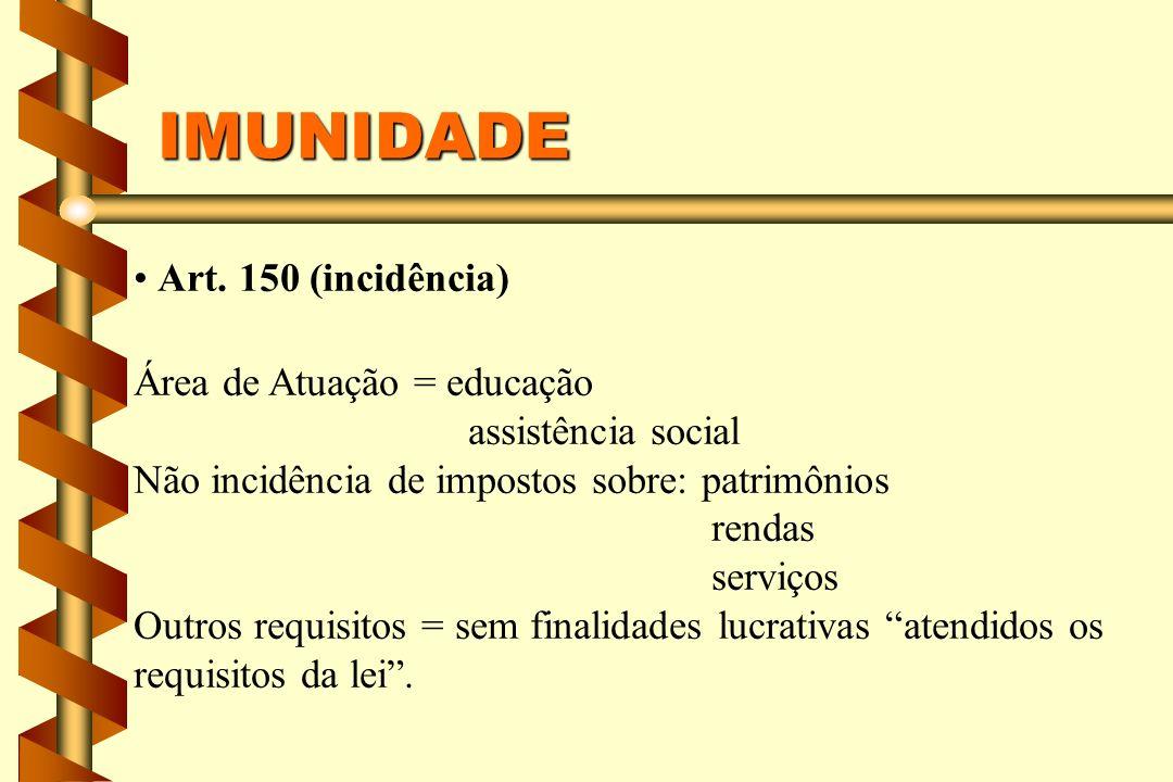 IMUNIDADE Art. 150 (incidência) Área de Atuação = educação