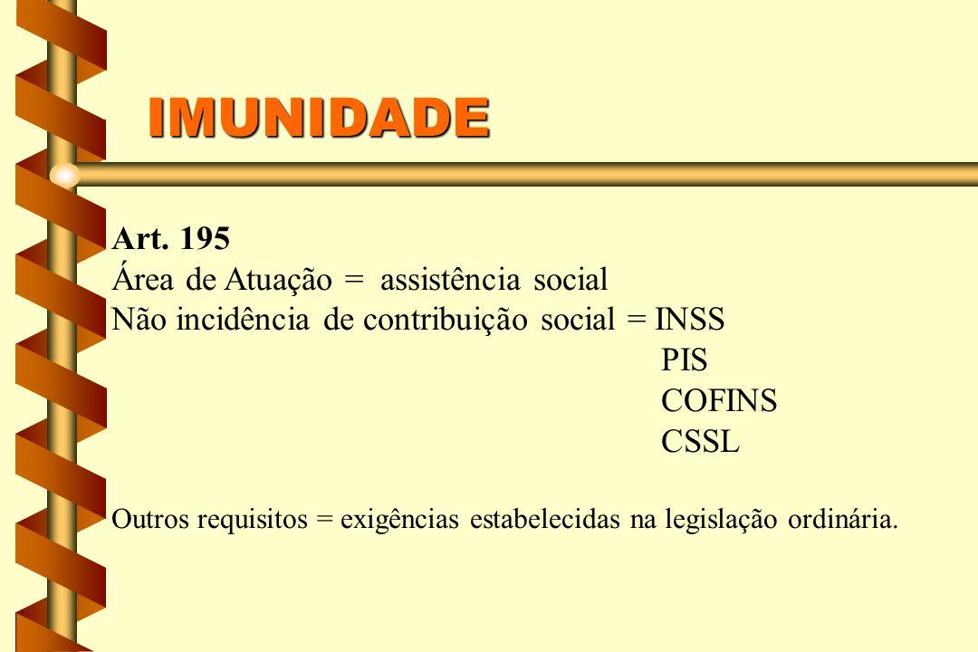 IMUNIDADE Art. 195 Área de Atuação = assistência social