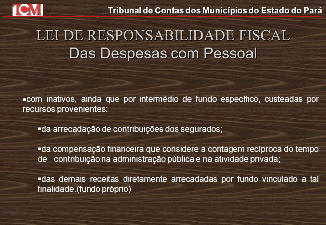 LEI DE RESPONSABILIDADE FISCAL Das Despesas com Pessoal