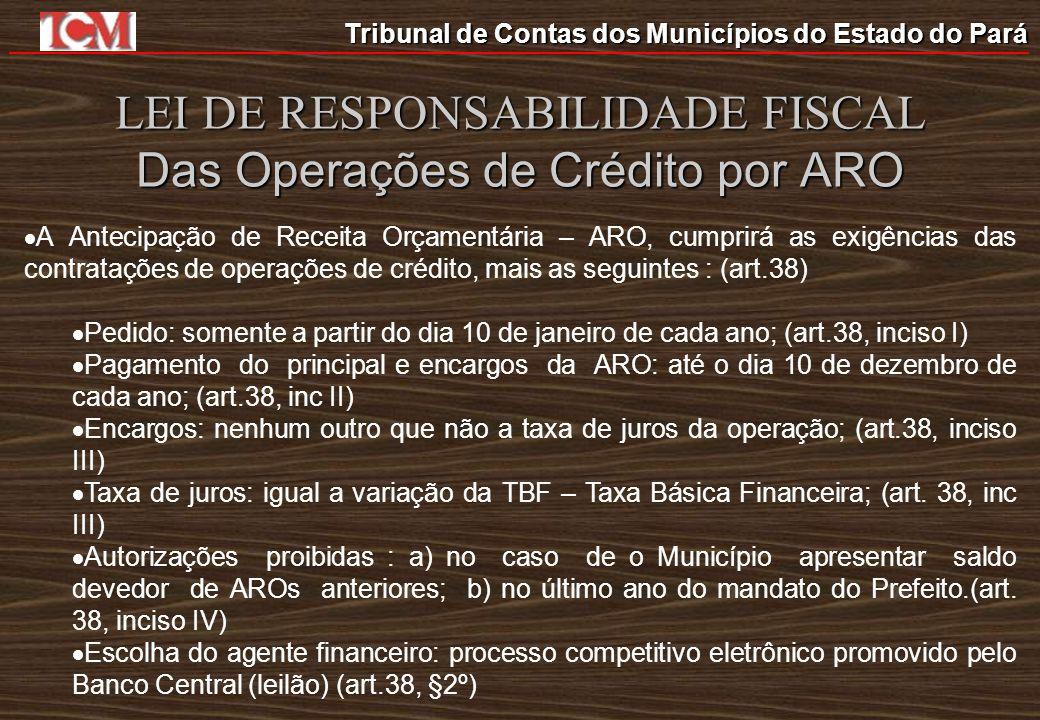 LEI DE RESPONSABILIDADE FISCAL Das Operações de Crédito por ARO