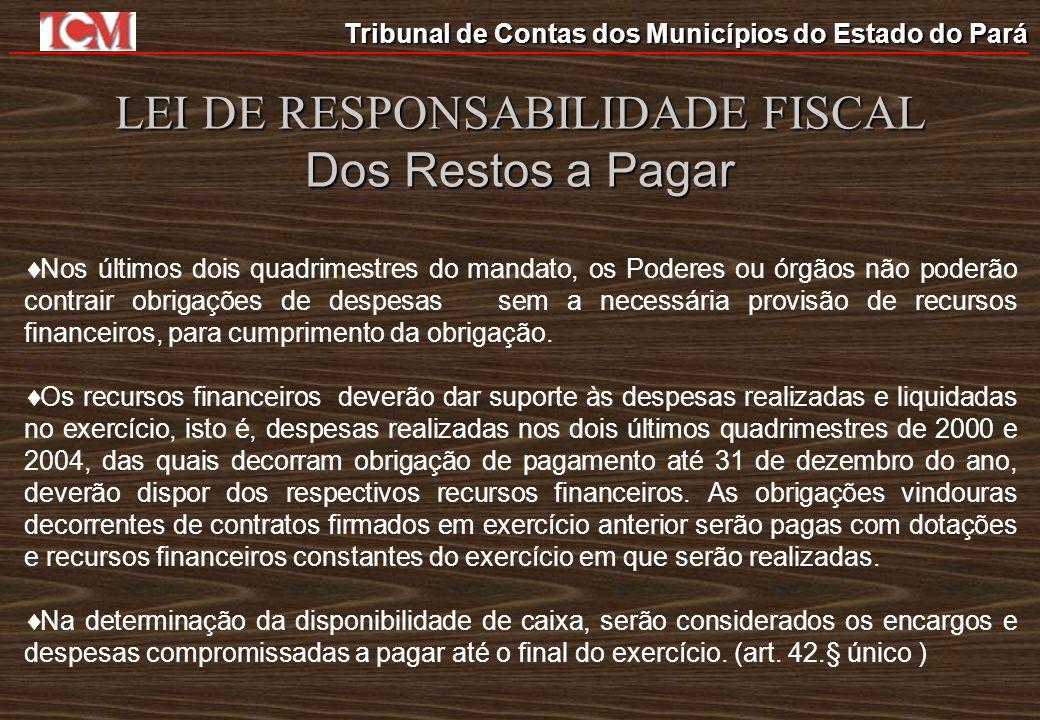 LEI DE RESPONSABILIDADE FISCAL Dos Restos a Pagar