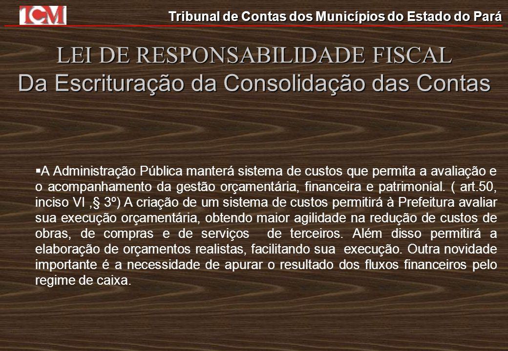 LEI DE RESPONSABILIDADE FISCAL Da Escrituração da Consolidação das Contas