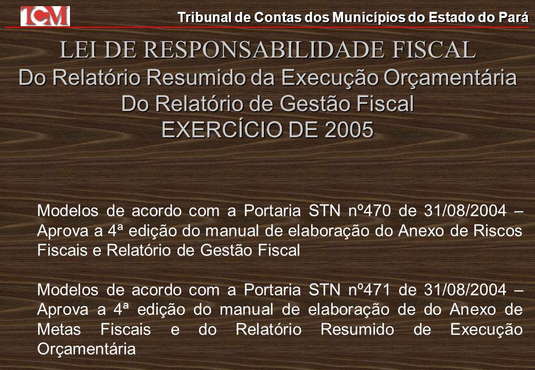 LEI DE RESPONSABILIDADE FISCAL Do Relatório Resumido da Execução Orçamentária Do Relatório de Gestão Fiscal EXERCÍCIO DE 2005