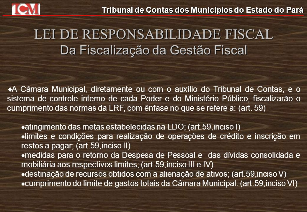 LEI DE RESPONSABILIDADE FISCAL Da Fiscalização da Gestão Fiscal