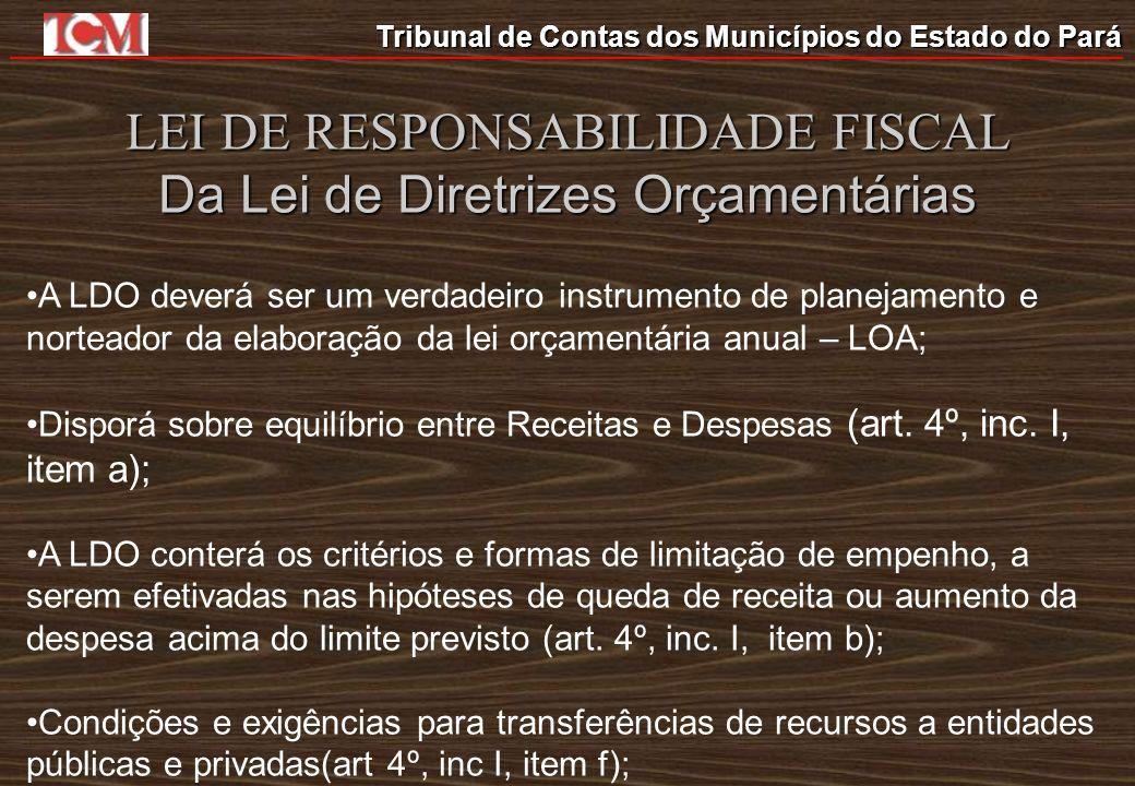 LEI DE RESPONSABILIDADE FISCAL Da Lei de Diretrizes Orçamentárias