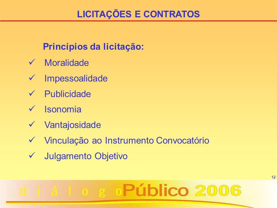 LICITAÇÕES E CONTRATOS Princípios da licitação: