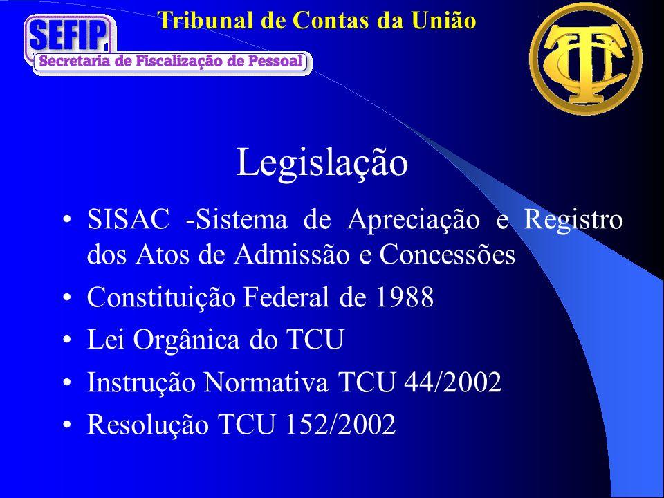 Legislação SISAC -Sistema de Apreciação e Registro dos Atos de Admissão e Concessões. Constituição Federal de 1988.
